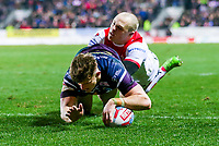 Picture by Alex Whitehead/SWpix.com - 16/03/2018 - Rugby League - Betfred Super League - St Helens v Leeds Rhinos - Totally Wicked Stadium, St Helens, England - Leeds' Ash Handley scores a try.
