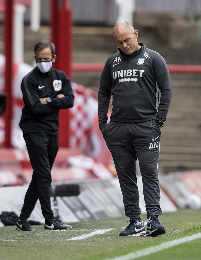 Preston North End's manager Alex Neil after his side conceded a goal <br /> <br /> Photographer Andrew Kearns/CameraSport<br /> <br /> The EFL Sky Bet Championship - Brentford v Preston North End - Wednesday 15th July 2020 - Griffin Park - Brentford <br /> <br /> World Copyright © 2020 CameraSport. All rights reserved. 43 Linden Ave. Countesthorpe. Leicester. England. LE8 5PG - Tel: +44 (0) 116 277 4147 - admin@camerasport.com - www.camerasport.com
