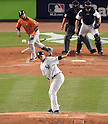 Masahiro Tanaka (Yankees), OCTOBER 6, 2015 - MLB : Houston Astros batter Luis Valbuena hits a single as New York Yankees starting pitcher Masahiro Tanaka reacts in the second inning during the American League Wild Card Game at Yankee Stadium in New York, United States. (Photo by AFLO)