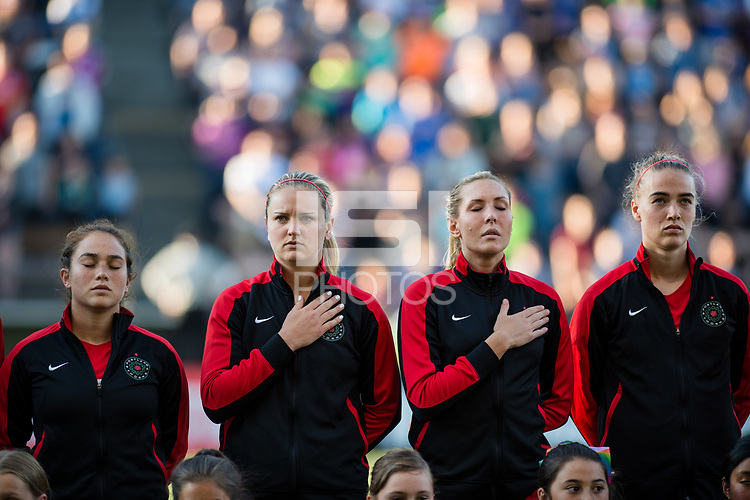 Seattle, WA - Saturday, July 1, 2017:  Portland Thorns FC  during a regular season National Women's Soccer League (NWSL) match between the Seattle Reign FC and the Portland Thorns FC at Memorial Stadium.
