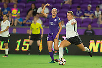 Orlando, FL - Saturday August 12, 2017: Dani Weatherholt, Madison Tiernan during a regular season National Women's Soccer League (NWSL) match between the Orlando Pride and Sky Blue FC at Orlando City Stadium.