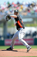 Miami Marlins pitcher Kevin Slowey #45 during a Spring Training game against the Boston Red Sox at JetBlue Park on March 27, 2013 in Fort Myers, Florida.  Miami defeated Boston 5-1.  (Mike Janes/Four Seam Images)