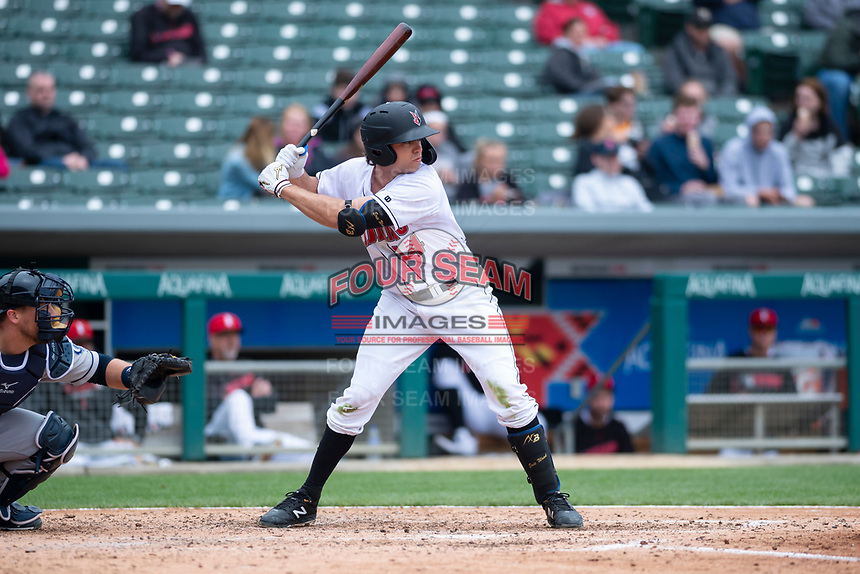 Indianapolis Indians right fielder Eric Wood (14) during an International League game against the Columbus Clippers on April 30, 2019 at Victory Field in Indianapolis, Indiana. Columbus defeated Indianapolis 7-6. (Zachary Lucy/Four Seam Images)