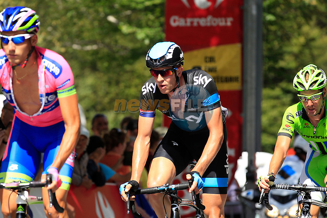 Ian Stannard (GBR) Sky Procycling crosses the top of the Category 2 climb of Col de Vizzavona during Stage 2 of the 100th Edition of the Tour de France 2013 from  Bastia to Ajaccio, Corsica, France.<br /> 29th June 2013. <br /> (Photo:Eoin Clarke/www.newsfile.ie)