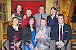 BABY JOY: Proud parents Brendan and Annmarie Donegan, Abbeydorney of little James Matthew who was Christening by Fr Brendan Walsh at St John's Church, Causeway and celebrated afterwards with family and friends at Stokers Lodge restaurant and bar, Tralee on Saturday seated l-r: Emma Donegan, Annmarie Donegan, Brendan Donegan, James Matthew Donegan and David Cantwell. Back l-r: Clair Moriarty, Eileen Donegan, Liam Cantwell and Lisa Cantwell.