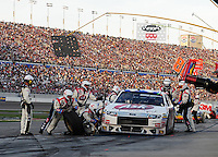 Mar. 1, 2009; Las Vegas, NV, USA; NASCAR Sprint Cup Series driver Bobby Labonte pits during the Shelby 427 at Las Vegas Motor Speedway. Mandatory Credit: Mark J. Rebilas-