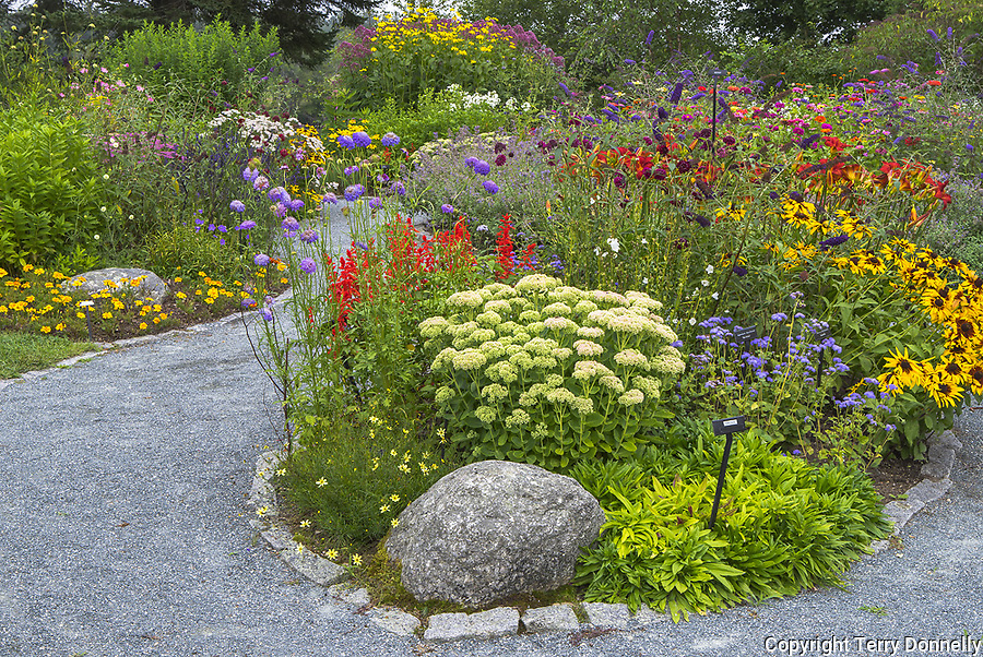 Southwest Harbor, Maine: <br /> Flowering gardens and pathways in the Charlotte Rhoades Park and Butterfly Garden