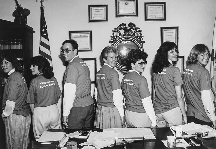 Mary Catherine Cassidy, intern, Elizabeth Dunne, legislative correspondent, Peter Spery, Wendy Strong, administrative assistant, Rita Sullivan, appointments secretary, Helen Rojas, press secretary, Stacy Gustafson, receptionist, in the office of Rep. E. Clay Shaw, R-Fla. 1983 (Photo by CQ Roll Call via Getty Images)