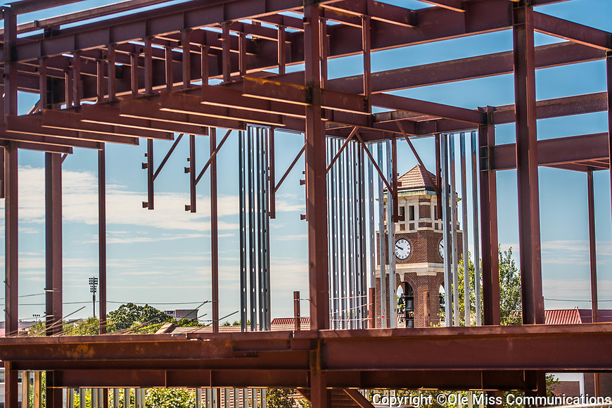 Paris-Yates Chapel through the new School of Applied Sciences building.  Photo by Kevin Bain/Ole Miss Communications