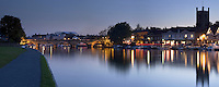Panoramic image of Henley on Thames at dusk, Oxfordshire, Uk
