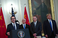 United States Secretary of the Treasury Steven T. Mnuchin delivers remarks before United States President Donald J. Trump and Liu He, China's vice premier, sign a trade agreement between the United States and China in the East Room of the White House in Washington D.C., U.S., on Wednesday, January 15, 2020.  <br /> <br /> Credit: Stefani Reynolds / CNP/AdMedia