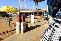 KENYA, Bungoma, solar shop in village Tongare  / KENIA, County Bungoma, Dorf Tongare, Laden fuer Solarpanel und Solarlampen