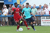 Anthony Cook of Welling in possession as Charlton's Ben Dempsey looks on during Welling United vs Charlton Athletic, Friendly Match Football at the Park View Road Ground on 13th July 2019