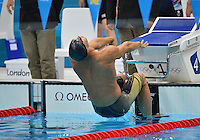 August 04, 2012..Matt Grevers pushes off the wall to compete in Men' 4x100 Medley Relay at the Aquatics Center on day eight of 2012 Olympic Games in London, United Kingdom.