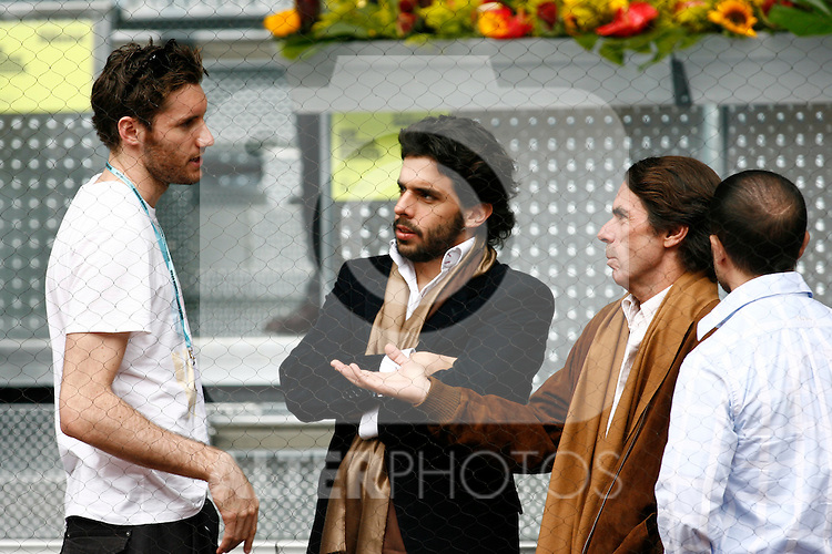 Rudy Fernandez with Jose Maria Aznar, Ex-President of Spain and his son Alonso Aznar during Tennis Madrid Open match, May 15,2010..(ALTERPHOTOS/Acero)