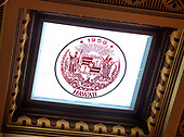 Close-up of the Hawaii state seal, which is one of the glass panes in the ceiling of the House of Representatives Chamber inside the Michigan State Capitol, which opened on January 1, 1879 in Lansing, Michigan on Saturday, June 29, 2018. The ceiling was designed to let in daylight and has one pane with the state seal for each of the states that comprise the United States of America,  The building was designed by architect Elijah E. Myers, and is one of the first state capitols to be topped by a lofty cast iron dome, that was modeled on the dome of the United States Capitol in Washington, DC. <br /> Credit: Ron Sachs / CNP