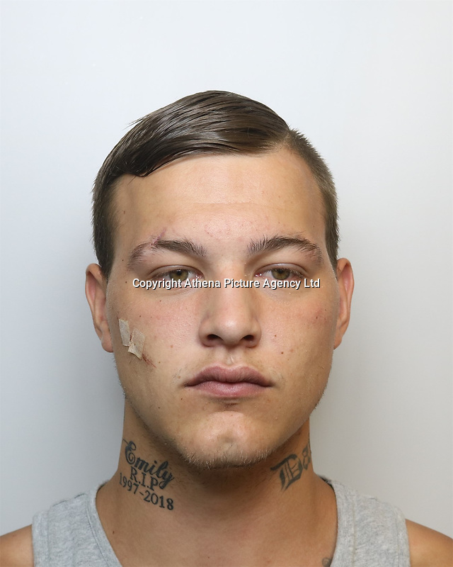 """Pictured: Custody picture of Jamie Steele<br /> Re: Jamie Steele, who attacked six people in one evening during a drug-fuelled """"rampage"""" has been jailed for nine years by Swansea Crown Court.<br /> 23 year old Steele, had been out of jail for a few weeks before he attacked three students in Carmarthen with his fists and then stabbed them with a screwdriver in west Wales.<br /> One stab punctured a victim's lung and came within an inch of his heart.<br /> Steele admitted grievous bodily harm, wounding with intent, assault and possessing an offensive weapon.<br /> The Court heard after attacking the students Steele went to a pub with his co-accused Joshua Kai Davies, 18.<br /> After being refused drinks at the Coracle, Steele pushed landlady Elizabeth Rees to the ground, fracturing her wrist, and told her: """"I could kill you in a second.""""<br /> He then knocked chef Alan Keith Davies unconscious and stamped on his head as he lay on the ground and punched a customer in the face.<br /> He warned Steele, of no fixed address, could face a life sentence if he came back before the court for another offence of violence.<br /> Co-accused Davies, who admitted two offences of affray, was given a two-year community order, ordered to complete 120 hours of unpaid work and given a curfew for 12 weeks."""