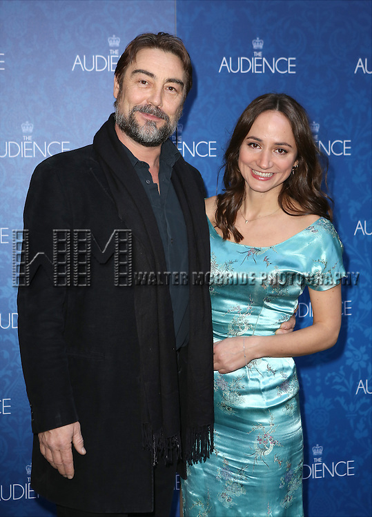 Nathaniel Parker and Lydia Leonard attends the Broadway Opening Night Performance of 'The Audience' at The Gerald Schoendeld Theatre on March 8, 2015 in New York City.