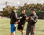 March 19, 2017. Chapel Hill, North Carolina.<br /> <br /> Mitch Trubisky has been working with QB coach Ryan Lindley (left), himself a former NFL quarterback, and trainer Russell Dudley, right, as he prepares for the NFL draft.<br /> <br /> Mitchell Trubisky, the former quarterback of UNC-CH, is projected to be picked in the first round of the 2017 NFL draft.