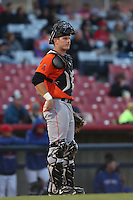 Stephen McGee (9) of the Inland Empire 66ers during a game against the High Desert Mavericks at Mavericks Stadium on May 6, 2015 in Adelanto, California. Inland Empire defeated High Desert, 10-4. (Larry Goren/Four Seam Images)
