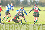 Tralee's Riona Kennedy tries to get through Highfield defense at O'Dowd park, Tralee on Sunday.
