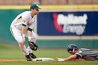 Joey Hainsfurther #1 of the Baylor Bears can't come up with the ball as it hits off of Chase Dempsay #9 of the Houston Cougars in the 2009 Houston College Classic at Minute Maid Park February 27, 2009 in Houston, TX.  The Bears defeated the Cougars 3-2. (Photo by Brian Westerholt / Four Seam Images)