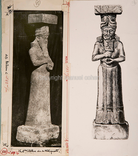 EXCLUSIVE (b/w photo) Photograph and drawing of a statue of king or high official located at the entrance Z of the harem of Sargon II palace, Khorsabad, Iraq, Middle East. Lost at Shatt al-Arab in 1855...Additional info :..1ere statue à l'entrée Z du Harem. Palais de Sargon II. Khorsabad (N.A. pl. 31 bis Profil). Perdue Chatt el Arab 1855.