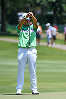 Hideki Matsuyama (JPN) lines up his putt on 12 during round 2 of the WGC FedEx St. Jude Invitational, TPC Southwind, Memphis, Tennessee, USA. 7/26/2019.<br /> Picture Ken Murray / Golffile.ie<br /> <br /> All photo usage must carry mandatory copyright credit (© Golffile | Ken Murray)