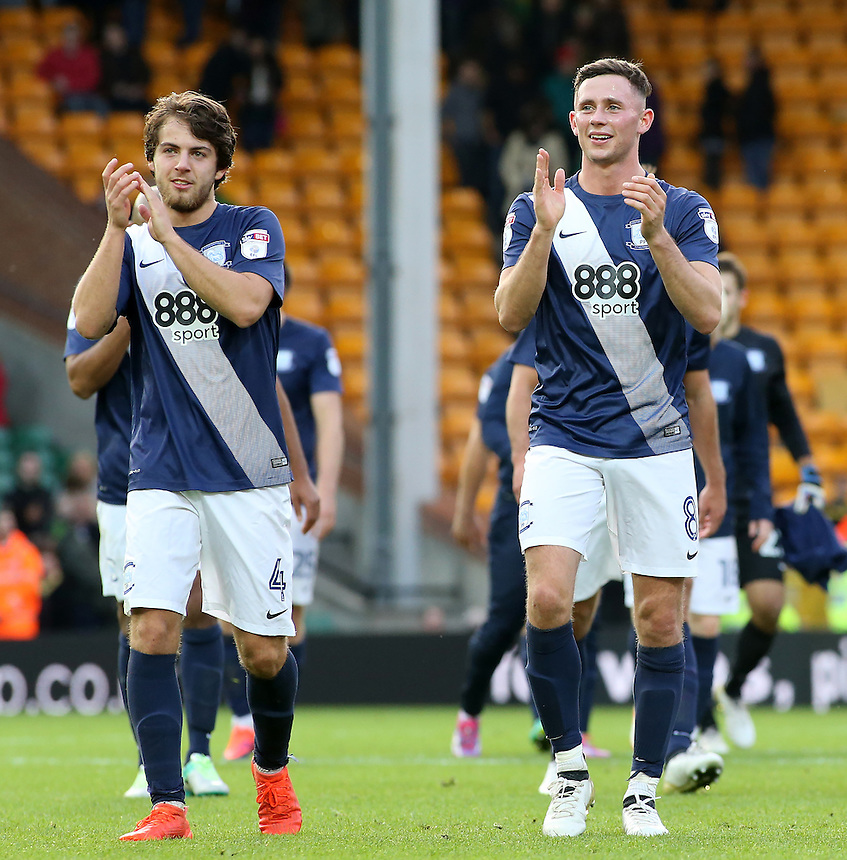 Preston North End's Ben Pearson (left) &amp; Alan Browne applaud the travelling support at the final whistle<br /> <br /> Photographer David Shipman/CameraSport<br /> <br /> The EFL Sky Bet Championship - Norwich City v Preston North End - Saturday 22nd October 2016 - Carrow Road - Norwich<br /> <br /> World Copyright &copy; 2016 CameraSport. All rights reserved. 43 Linden Ave. Countesthorpe. Leicester. England. LE8 5PG - Tel: +44 (0) 116 277 4147 - admin@camerasport.com - www.camerasport.com