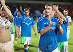 St Johnstone v FC Luzern...24.07.14  Europa League 2nd Round Qualifier<br /> Tam Scobbie applauds the fans<br /> Picture by Graeme Hart.<br /> Copyright Perthshire Picture Agency<br /> Tel: 01738 623350  Mobile: 07990 594431