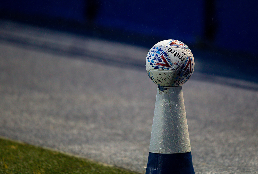A disinfected ball sits on a cone, ready to be used<br /> <br /> Photographer Alex Dodd/CameraSport<br /> <br /> The EFL Sky Bet Championship - Sheffield Wednesday v Preston North End - Wednesday 8th July 2020 - Hillsborough - Sheffield<br /> <br /> World Copyright © 2020 CameraSport. All rights reserved. 43 Linden Ave. Countesthorpe. Leicester. England. LE8 5PG - Tel: +44 (0) 116 277 4147 - admin@camerasport.com - www.camerasport.com