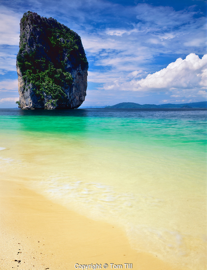 Seastack and Deserted Beach, Hat Nopparat Thara and Mu Ko Phi Phi Marine National Park, Thailand