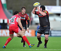 Matt Stevens looks to pass the ball. Aviva Premiership match, between Saracens and London Welsh on March 3, 2013 at Allianz Park in London, England. Photo by: Patrick Khachfe / Onside Images