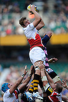 Joe Launchbury of London Wasps secures the lineout ball during the Aviva Premiership match between London Wasps and Gloucester Rugby at Twickenham Stadium on Saturday 19th April 2014 (Photo by Rob Munro)