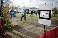 UCI officials ready to pull out riders who fall under the 80% time-limit (leader's lap time)<br /> <br /> GP Zonhoven 2014