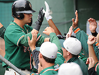 April 19, 2009: Infielder Brandon Turner (14) of the Greensboro Grasshoppers, Class A affiliate of the Florida Marlins, in a game against the Greenville Drive at Fluor Field at the West End in Greenville, S.C. Photo by: Tom Priddy/Four Seam Images