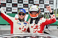 #60 KohR Motorsports Ford Mustang GT4, GS: Nate Stacy, Kyle Marcelli celebrate the win the podium