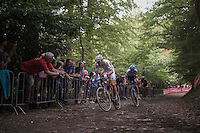 World Champion Wout Van Aert (BEL/Crelan-Vastgoedservice) &amp; Michael Vanthourenhout (BEL/Marlux-NapoleonGames) leading the race up the cobbles of the infamous 'Muur van Geraardsbergen'<br /> <br /> Brico-cross Geraardsbergen 2016