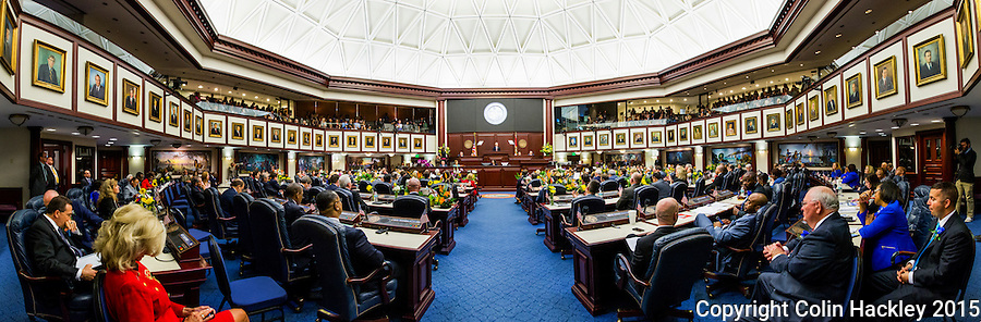 TALLAHASSEE, FLA. 3/3/15-Gov. Rick Scott delivers the State of the State address during the opening day of the 2015 Legislative Session Tuesday at the Capitol in Tallahassee.<br /> <br /> COLIN HACKLEY PHOTO<br /> <br /> EDITORS NOTE: This image is comprised of multiple photos taken at the same moment and stitched together in Photoshop to create a panoramic photo.