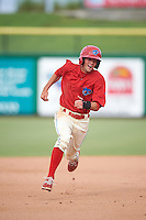 Clearwater Threshers right fielder Zachary Coppola (2) running the bases during a game against the Lakeland Flying Tigers on August 5, 2016 at Bright House Field in Clearwater, Florida.  Clearwater defeated Lakeland 3-2.  (Mike Janes/Four Seam Images)