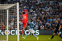 Kansas City, KS - Wednesday August 9, 2017: Andrew Tarbell, Ike Opera during a Lamar Hunt U.S. Open Cup Semifinal match between Sporting Kansas City and the San Jose Earthquakes at Children's Mercy Park.