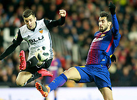 Valencia CF's Jose Luis Gaya (l) and FC Barcelona's Andre Gomes during Spanish King's Cup Semi Final 2nd match. February 8,2018.  *** Local Caption *** © pixathlon<br /> Contact: +49-40-22 63 02 60 , info@pixathlon.de