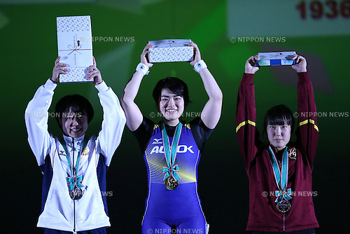 L-R) <br /> Eri Mitsuki, <br /> Namika Matsumoto, <br /> Saeri Ono, <br /> MAY 22, 2016 - Weightlifting : <br /> All Japan Weightlifting Championship 2016 Women's -63kg <br /> Award Ceremony at Yamanashi Municipal Gymnasium, Yamanashi, Japan. <br /> (Photo by AFLO SPORT)