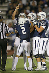 Nevada's Cody Fajardo (17) celebrates with teammates after scoring against Boise State during the first half of an NCAA college football game in Reno, Nev, on Saturday, Oct. 4, 2014. (AP Photo/Cathleen Allison)