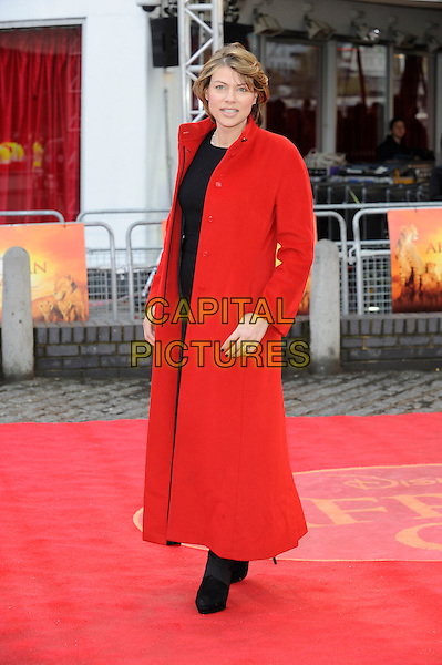 Kate Silverton.'African Cats' UK Premiere at BFI Southbank, London, England..25th April 2012.full length red long coat.CAP/DH.©David Hitchens/Capital Pictures.