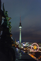 View onto the TV tower and Ferris Wheel from atop the Berlin Dom.