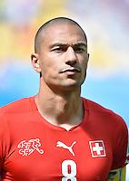 FUSSBALL WM 2014  VORRUNDE    Gruppe D     Schweiz - Ecuador                      15.06.2014 Goekhan Inler (Schweiz)