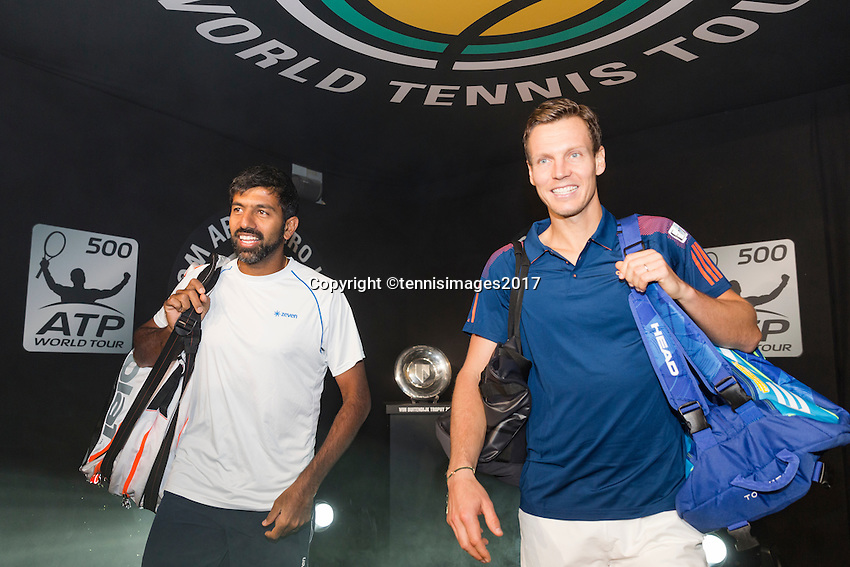 ABN AMRO World Tennis Tournament, Rotterdam, The Netherlands, 14 februari, 2017, Rohan Bopanna (IND), Tomas Berdych (CZE)<br /> Photo: Henk Koster