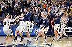 SIOUX FALLS, SD: MARCH 10:  Players from the Augustana bench erupt after an overtime victory over Northern State during the 2018 NCAA Division II Women's Basketball Central Region Tournament at the Elmen Center in Sioux Falls, S.D.  (Photo by Dick Carlson/Inertia)
