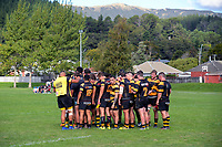 The Axemen huddle after the 2019 Swindale Shield Wellington club rugby match between Upper Hutt Rams and Wellington Axemen at Maoribank Park in Upper Hutt, New Zealand on Saturday, 30 March 2019. Photo: Dave Lintott / lintottphoto.co.nz